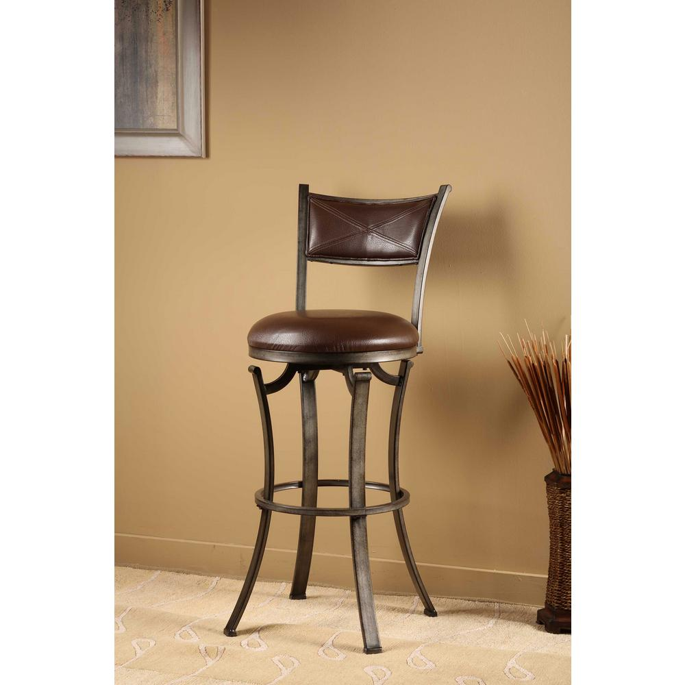 Swivel Bar Chairs Drummond 26 In Rubbed Pewter Swivel Cushioned Bar Stool