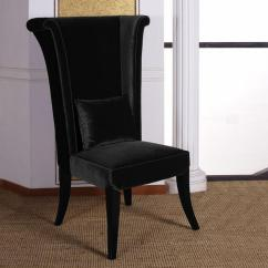 Black Velvet Chair Revolving Accessories Armen Living Mad Hatter 52 In And Wood Finish Dining