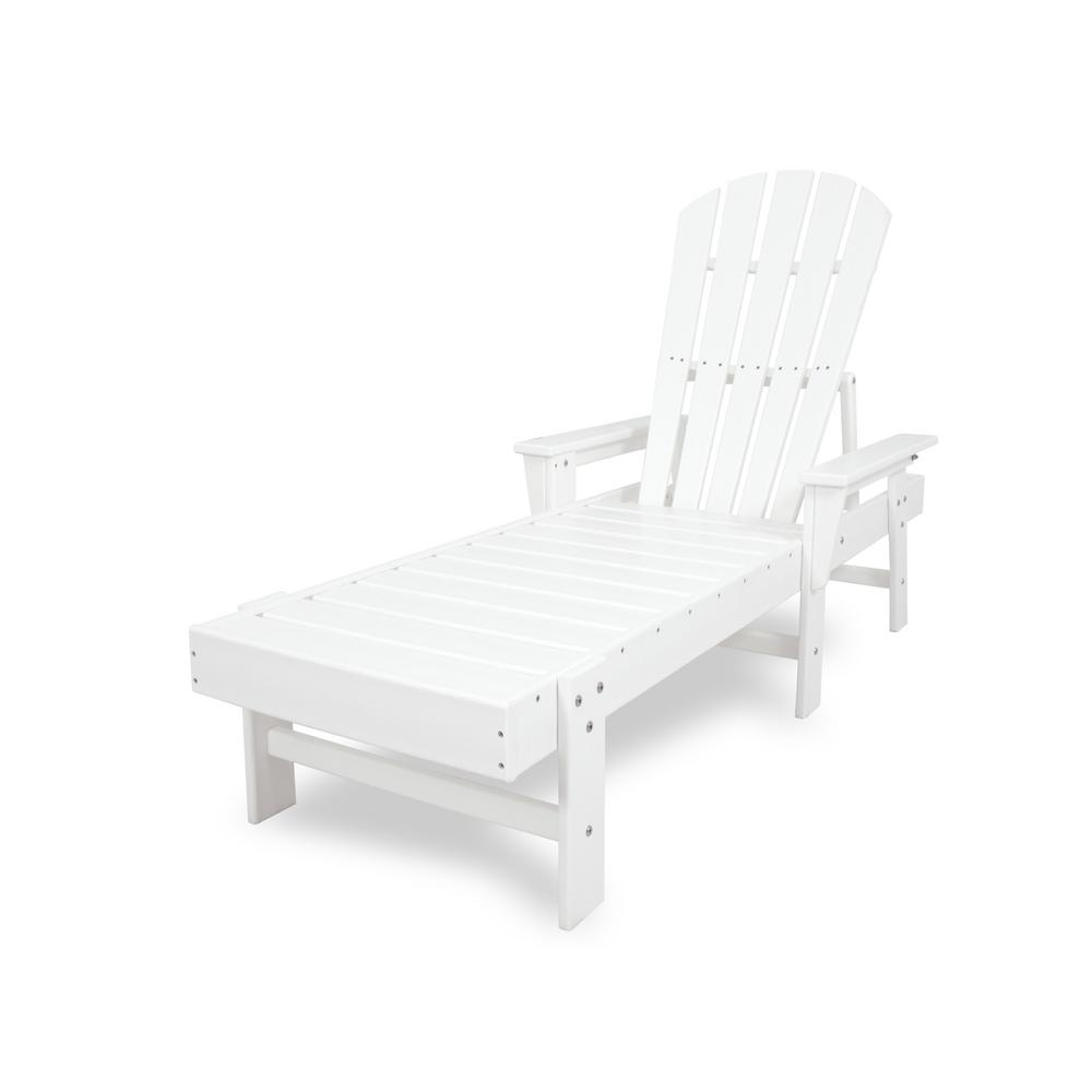 POLYWOOD South Beach White Plastic Outdoor Patio Chaise