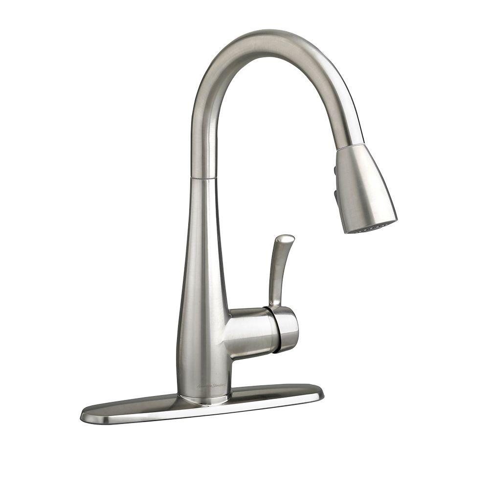 kitchen faucets stainless steel drain pipe repair american standard quince single handle pull down sprayer faucet in