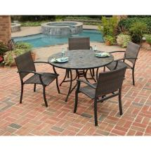 Outdoor Table with Tile Top Patio Dining Set