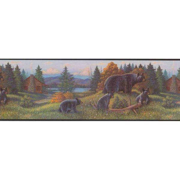 York Wallcoverings Lake Forest Lodge Black Bear Wallpaper