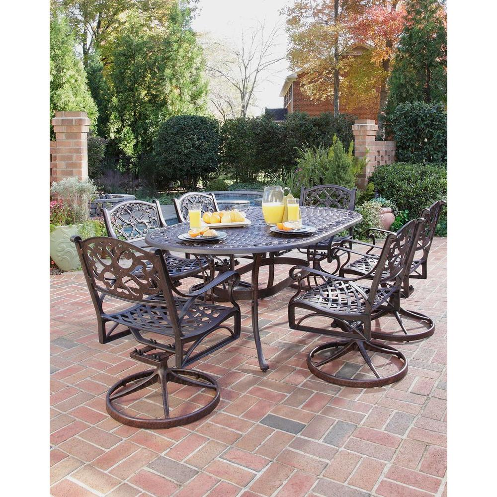 swivel patio chairs sale wooden rocking chair styles home biscayne bronze 7 piece dining set 5555 335
