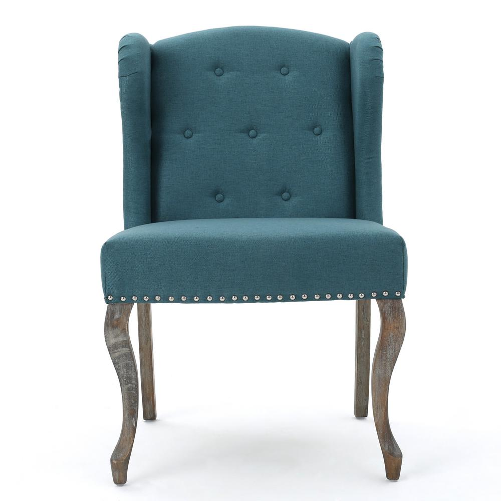 Teal Wingback Chair Noble House Niclas Button Back Dark Teal Fabric Winged Chair With Stud Accents