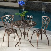 Noble House Modern Brown 3-piece Aluminum Outdoor