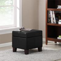 Dorel Living Black Small Storage Ottoman