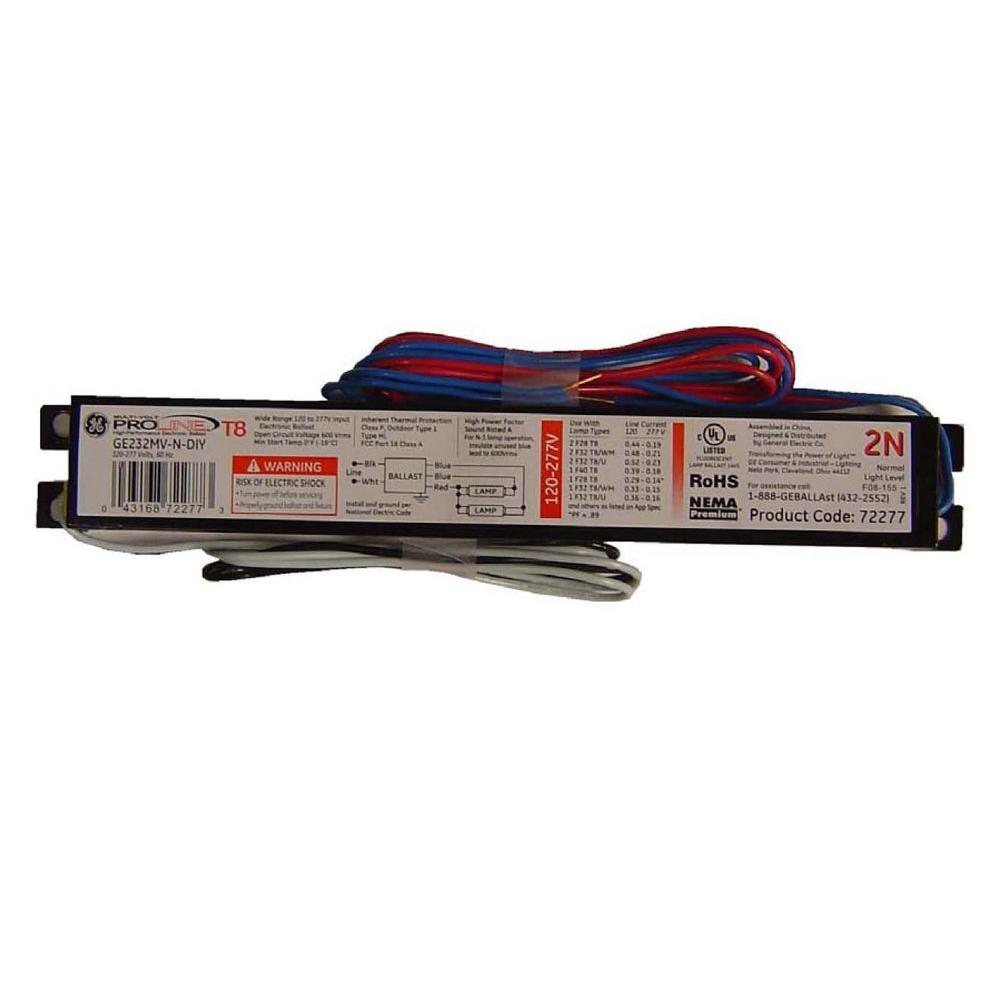 medium resolution of 120 to 277 volt electronic ballast for 4 ft 2 lamp t8 fixture