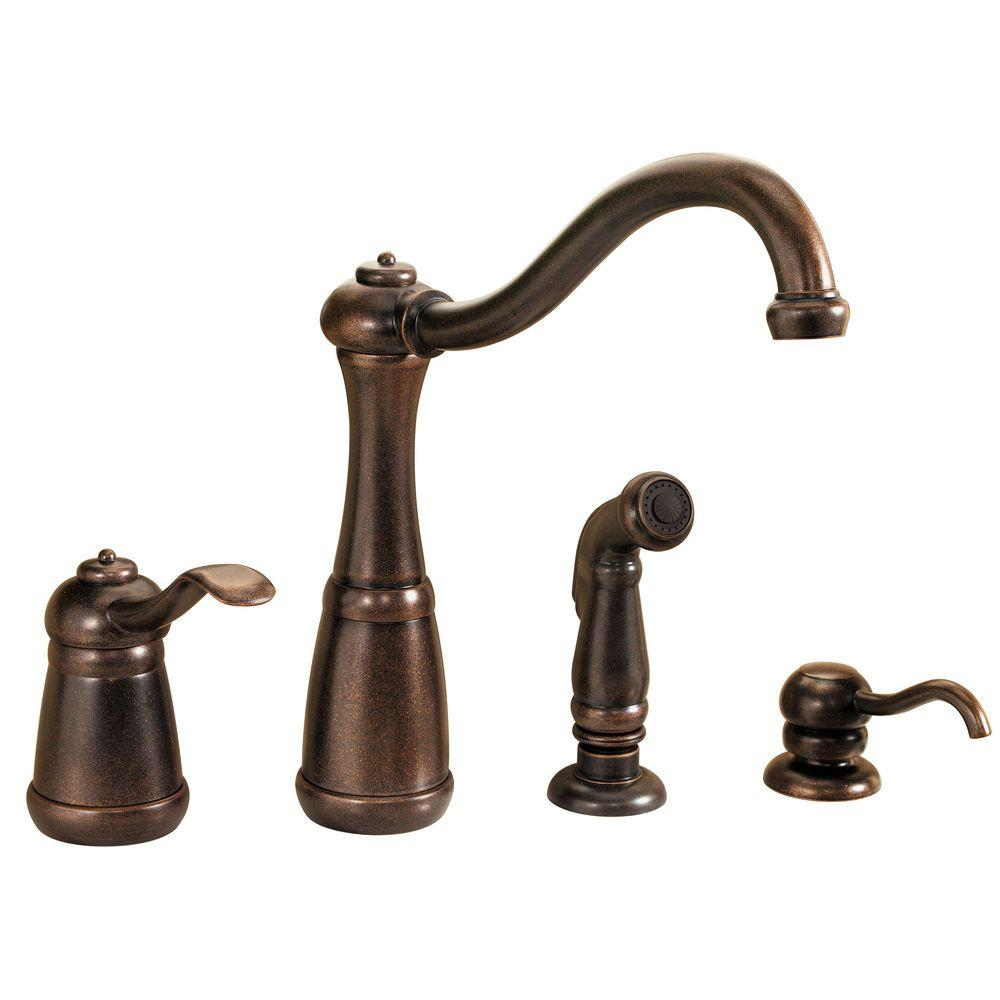 four hole kitchen faucets work station table pfister marielle single handle side sprayer faucet and soap dispenser in rustic bronze