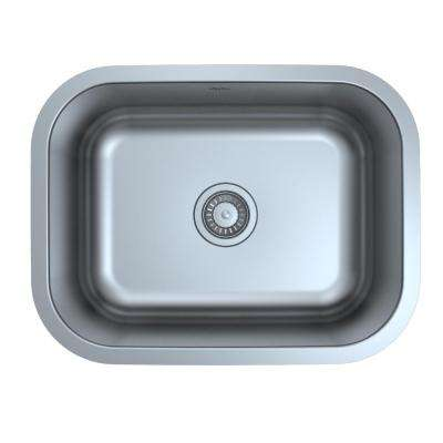 blue kitchen sink backsplash murals ancona undermount sinks the home depot single bowl in satin stainless steel with strainer