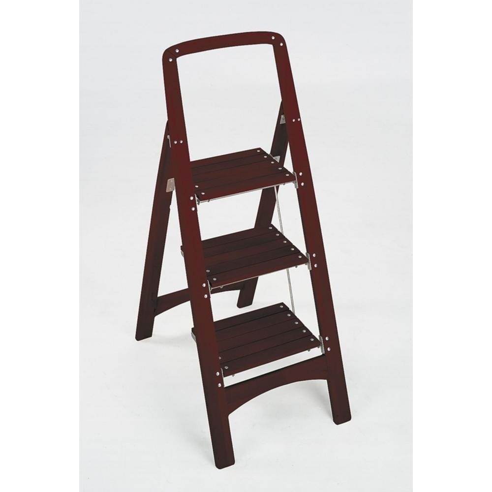 Cosco Rockford 3 Step Mahogany Wood Step Stool Ladder With 225 Lb   Wood Steps Home Depot   Flooring   Stair Railing   Carpeted Stairs   Unfinished Pine Stair   Oak Stair Nosing