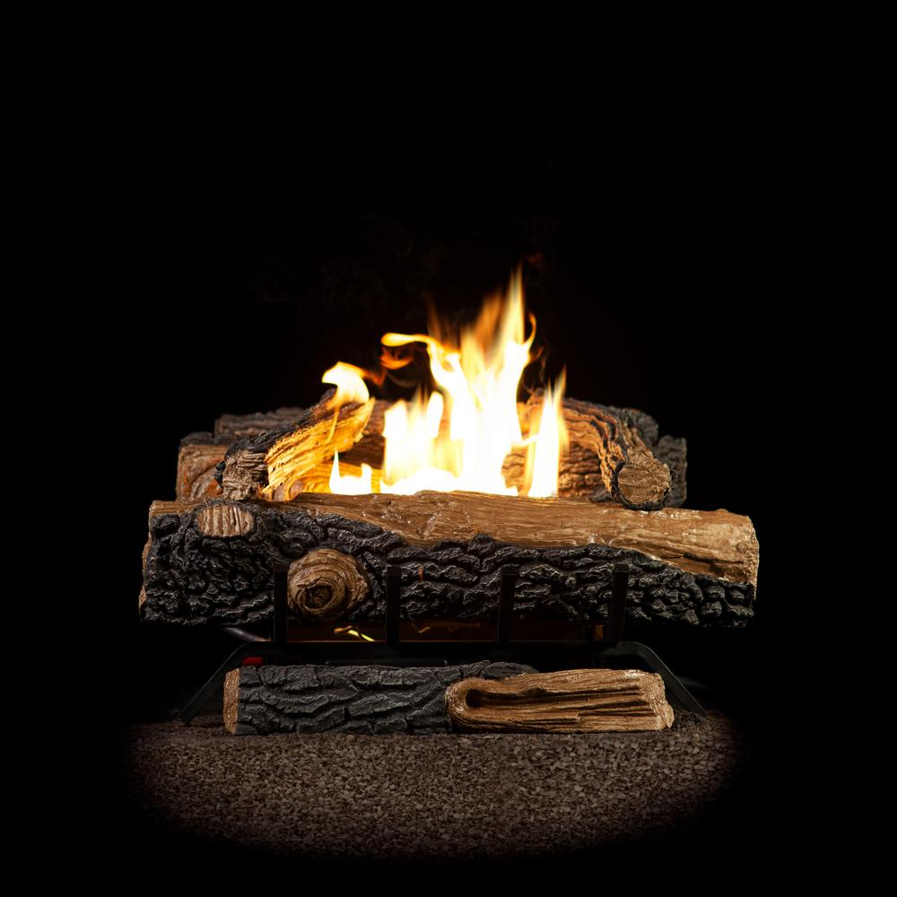 Emberglow Oakwood 24 in VentFree Propane Gas Fireplace Logs with Thermostatic ControlOVT22LP