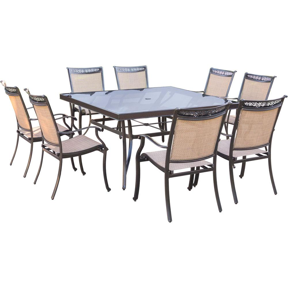 re sling patio chairs modern rocking chair for nursery hanover fontana 9-piece aluminum square outdoor dining set with glass-top table-fntdn9pcsqg ...
