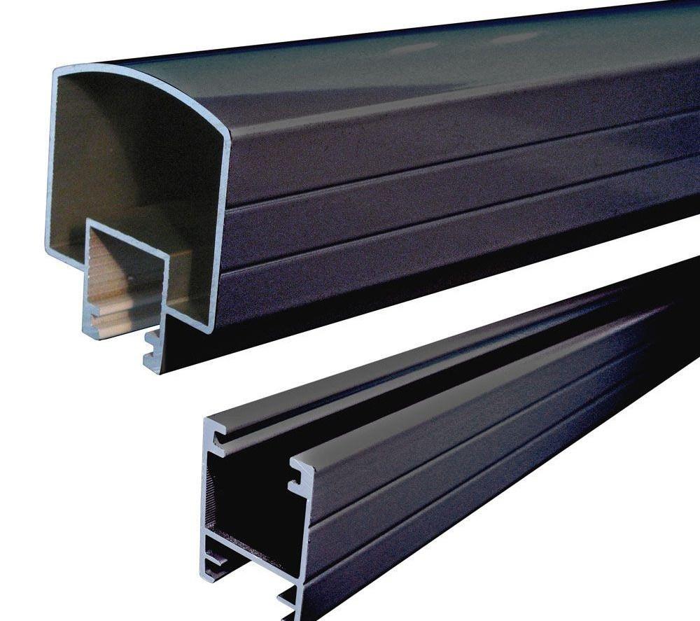 Peak Aluminum Railing 6 Ft Black Aluminum Hand And Base Rail   Outside Stair Railing Home Depot   Wood   Metal   Wrought Iron Railing   Stair Parts   Baluster