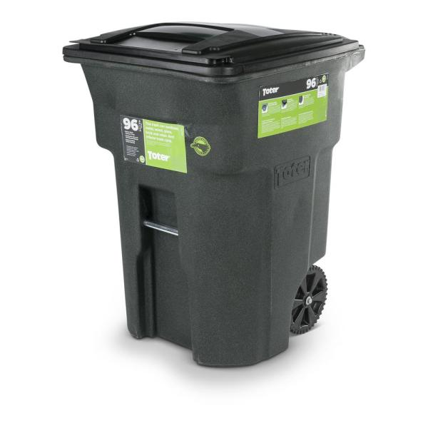 Toter 96 Gal Greenstone Trash Can with Wheels and