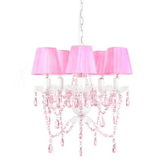 Tadpoles 5 Light Pink Shire Chandelier Shade