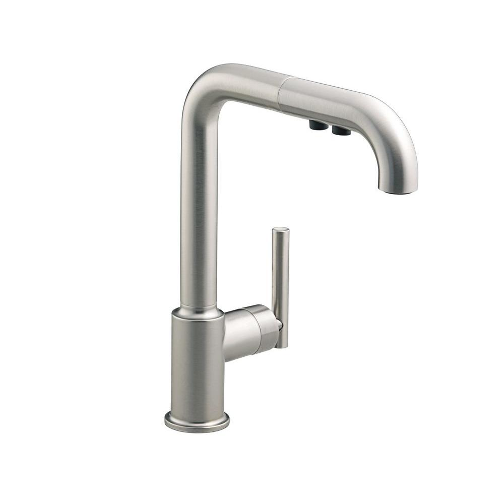 kohler purist kitchen faucet lamps for the single handle pull out sprayer in vibrant stainless