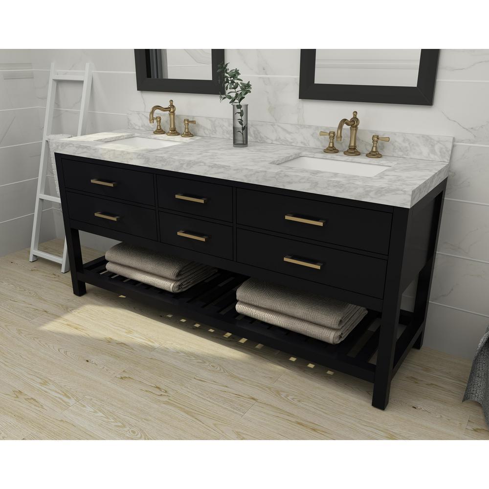 Ancerre Designs Elizabeth 72 In W X 22 In D Bath Vanity In Black Onyx W Marble Vanity Top In White W White Basin And Gold Hardware Vts Elizabeth 72 Bo Cw Gd The Home Depot