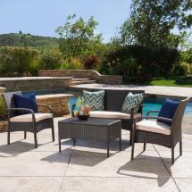 4 Piece Wicker Conversation Set Outdoor Patio Furniture