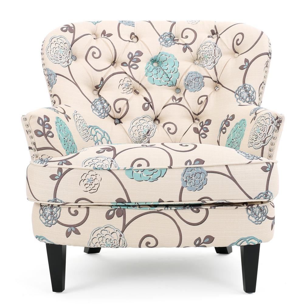 christopher knight club chair office in amazon noble house tafton white and blue floral fabric tufted 299126 the home depot