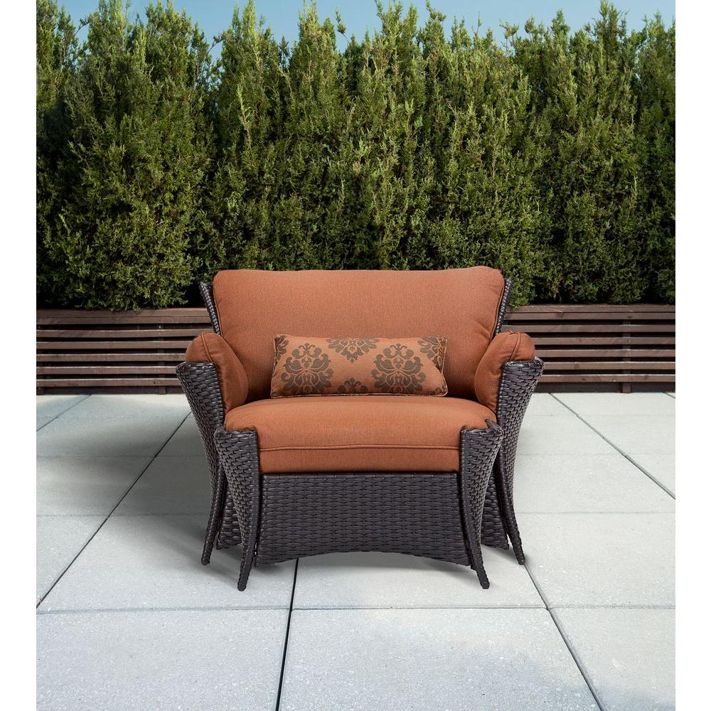 Oversized Chair And Ottoman Set Hanover Strathmere Allure 2 Piece Patio Set With Oversized Armchair And Ottoman With Woodland Rust Cushions