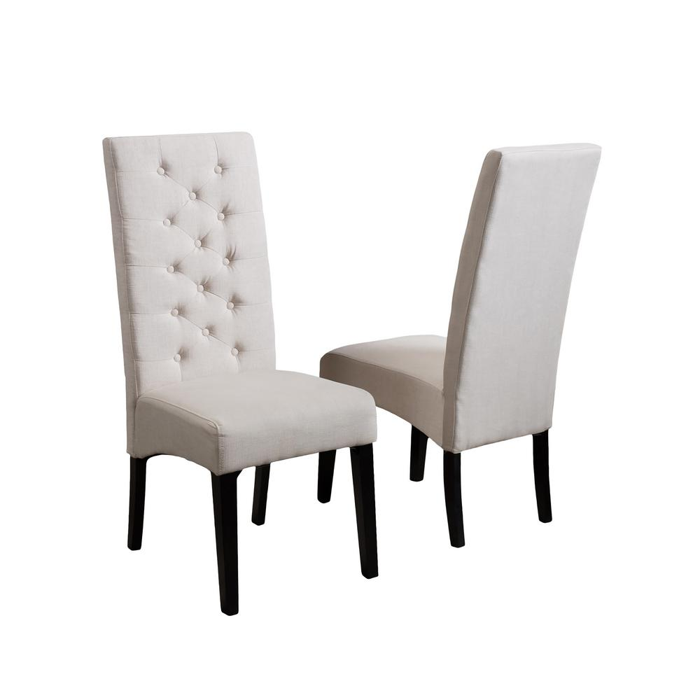 tall back dining chairs captains desk and chair noble house toller natural fabric tufted set of 2 218853 the home depot