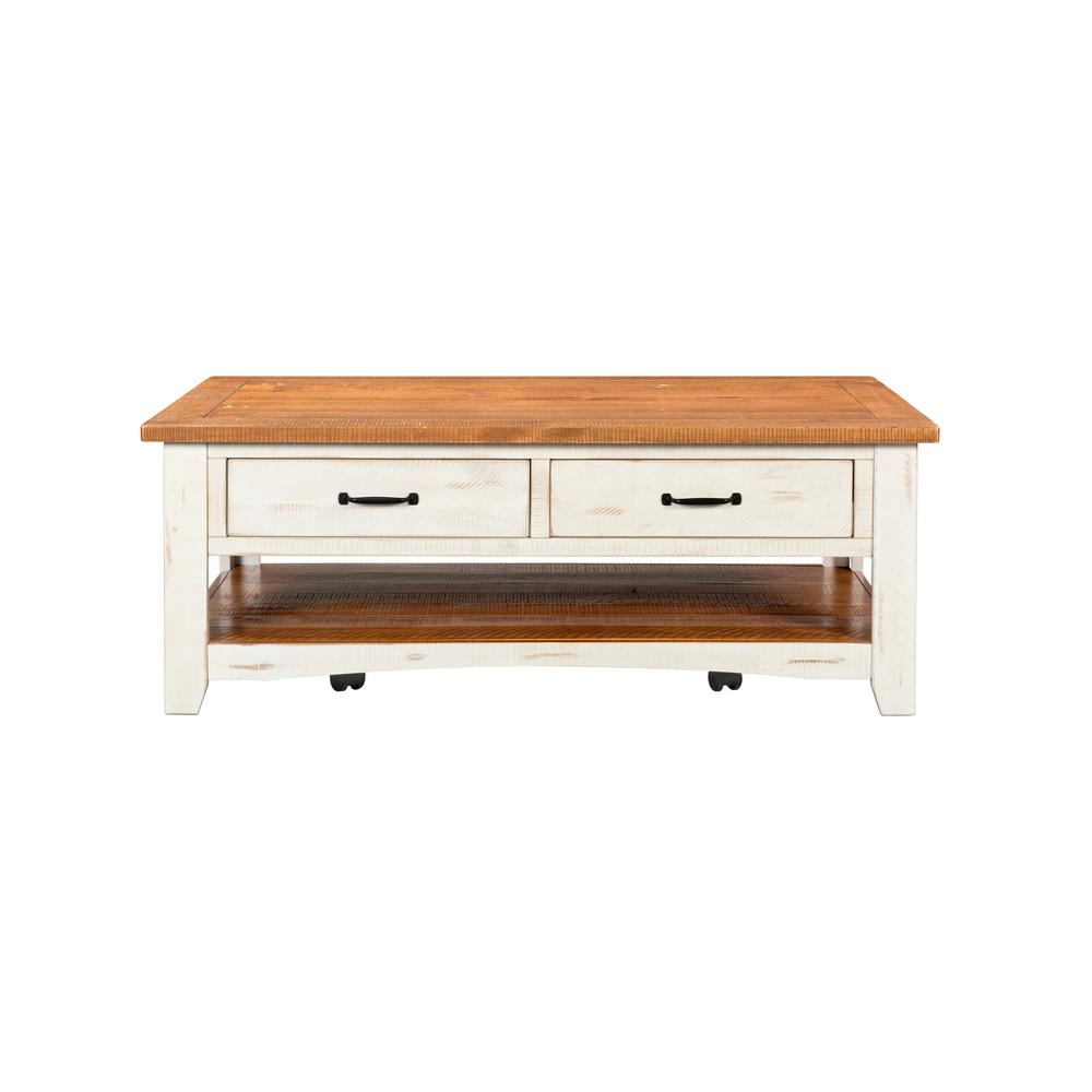 martin svensson home rustic 50 in antique white honey aged distressed pine large rectangle wood coffee table with drawers 890126 the home depot
