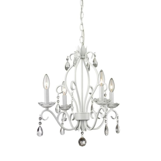 Queen 4 Light Matte White Chandelier