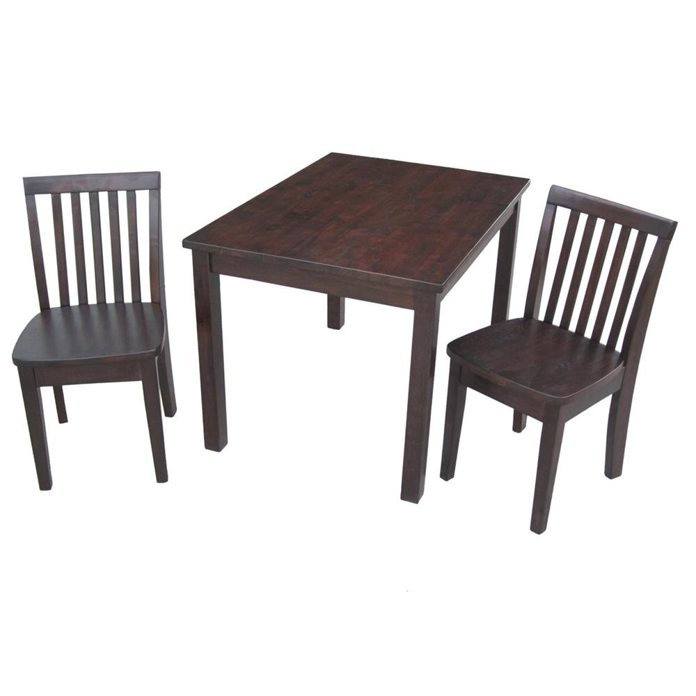 Kids Wood Table And Chairs 3 Piece Mocha Children S Table And Chair Set