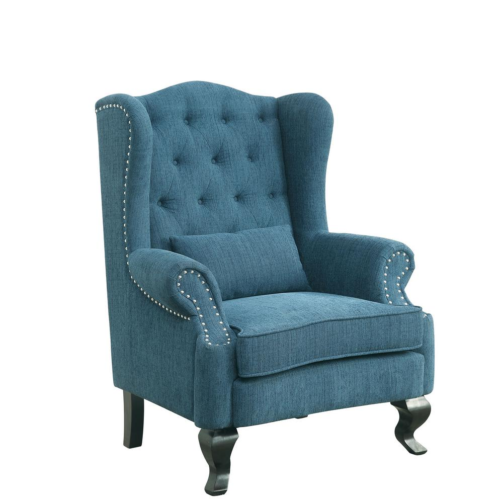 dark teal accent chair black round dining table and chairs willow traditional with ottoman cm ac6271tl ch the home depot