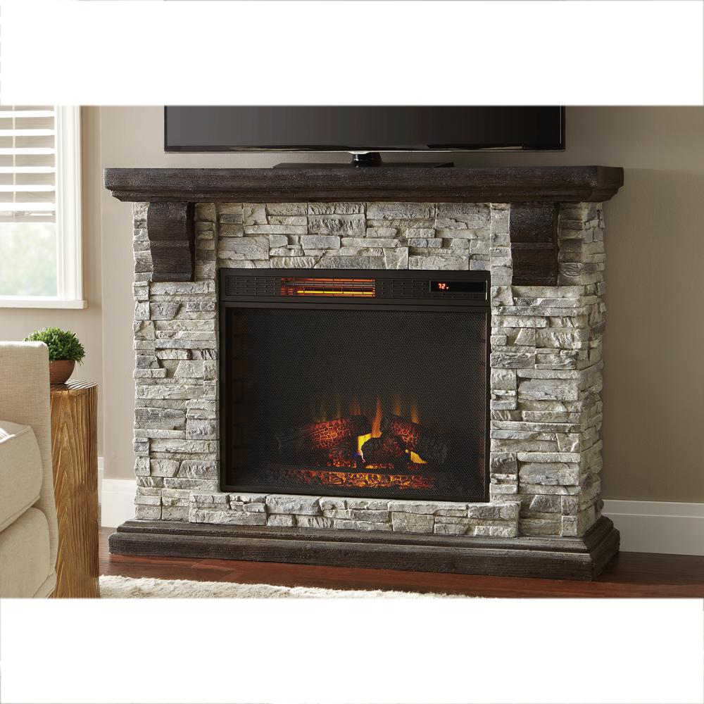 Home Decorators Collection Highland 50 in Faux Stone Mantel Electric Fireplace in Gray103058