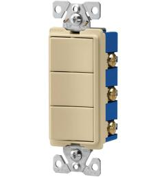 eaton 15 amp 120 volt 3 way decorator 3 single pole combination switches [ 1000 x 1000 Pixel ]