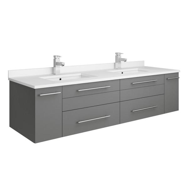 Fresca Lucera 60 In W Wall Hung Bath Vanity In Gray With Quartz Stone Double Sink Vanity Top In White With White Basins Fcb6160gr Uns D Cwh U The Home Depot