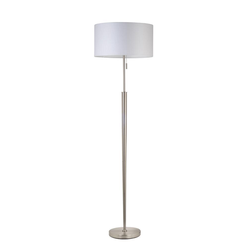 hampton bay 64 2 in brushed nickel floor lamp with 3