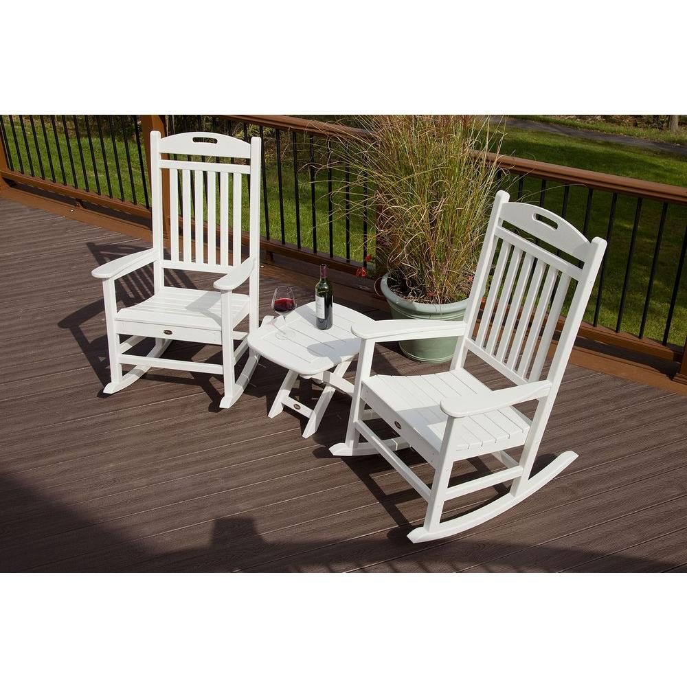 Outdoor Rocking Chair Set Trex Outdoor Furniture Yacht Club Classic White 3 Piece Patio Rocker Set