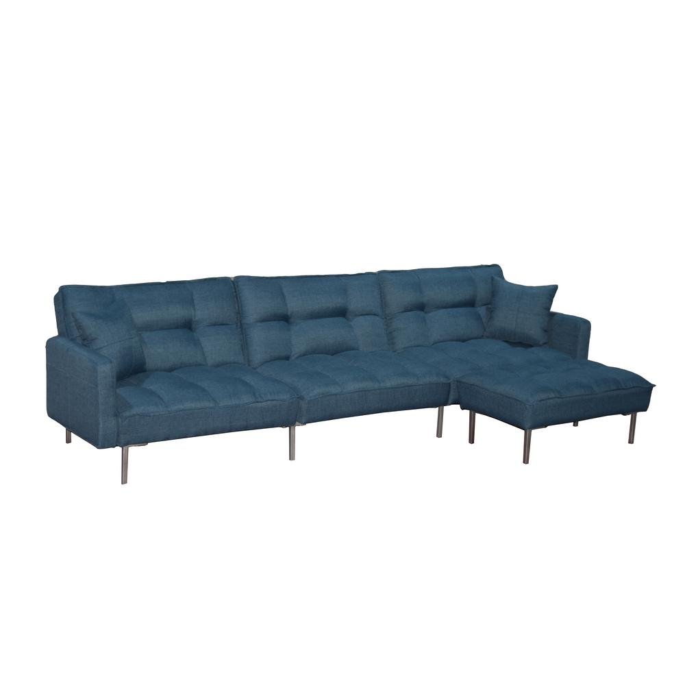 boyel living 109 in w blue polyester sectional 3 seat full sofa bed l shaped couch sleeper with 2 pillows and reversible ottoman aox w288s00002 the