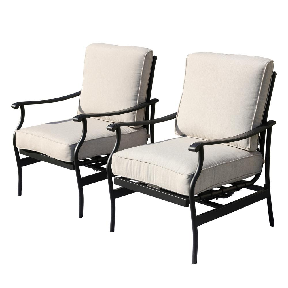 Patio Festival Metal Outdoor Rocking Chair with Beige