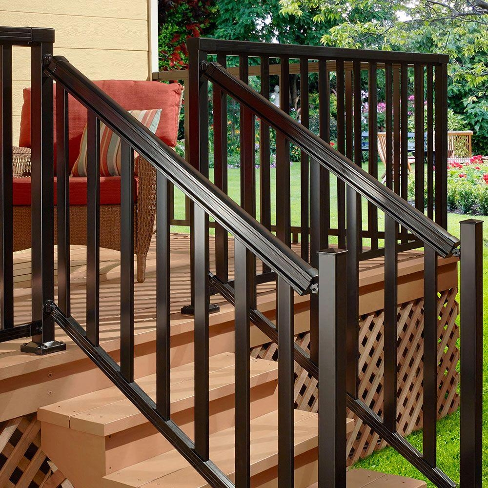 Peak Aluminum Railing Black 6 Ft Aluminum Stair Hand And Base   Outdoor Stair Railing Installation   Simple   Design   Wall Mounted   Staircase   Modern