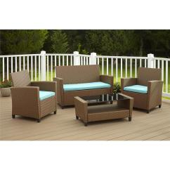 Cushions For Wicker Chairs Dinette Table And Cosco Malmo 4 Piece Brown Resin Patio Conversation Set With Blue