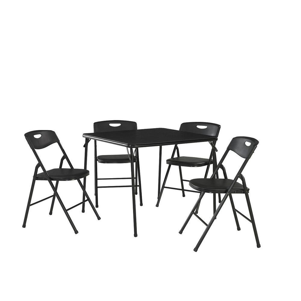 Cosco 5Piece Black Portable Folding Card Table Set