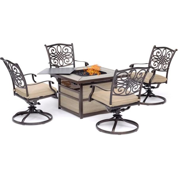 Hanover Traditions 5-piece Aluminum Fire Pit Patio Seating Set With Tan Cushions Swivel Rockers