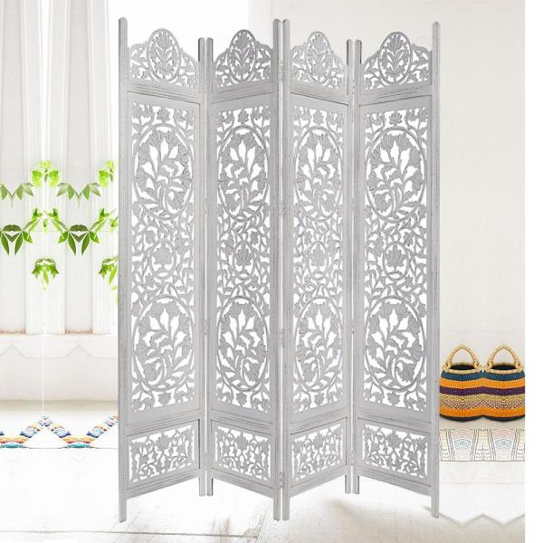The Urban Port Handcrafted Wooden Distressed White 4 Panel Room Divider Screen Featuring Lotus Pattern Reversible Upt 176788 The Home Depot
