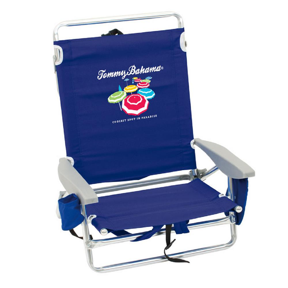 back pack beach chairs tall folding chair rio tommy bahama navy blue aluminum and fabric 5 position lay flat backpack