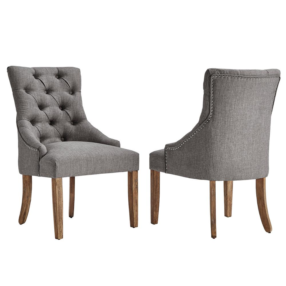 grey dining chairs aeron chair replacement parts homesullivan marjorie linen button tufted set of 2