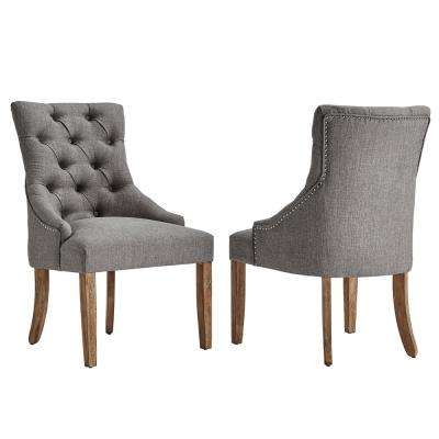 farmhouse dining chairs simply bows and chair covers hoghton kitchen room marjorie grey linen button tufted set of 2