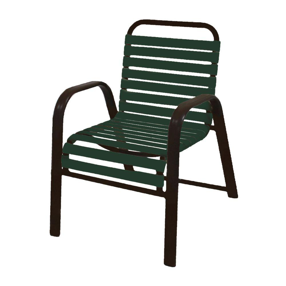 unbranded marco island dark cafe brown commercial grade aluminum patio dining chair with green vinyl straps 2 pack 3200 r g the home depot