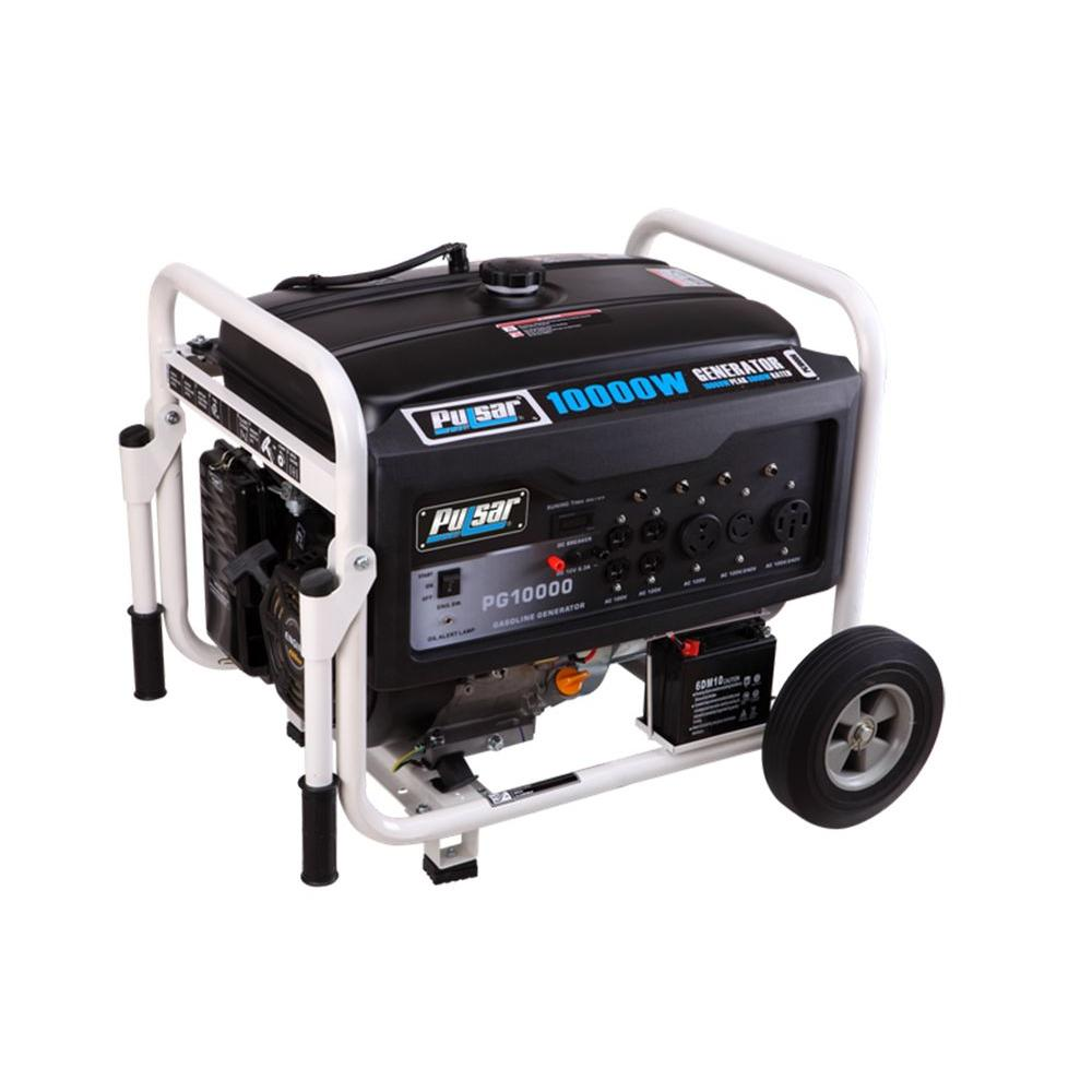 hight resolution of pulsar 10 000 8 000 watt gasoline powered electric recoil start portable generator with 420