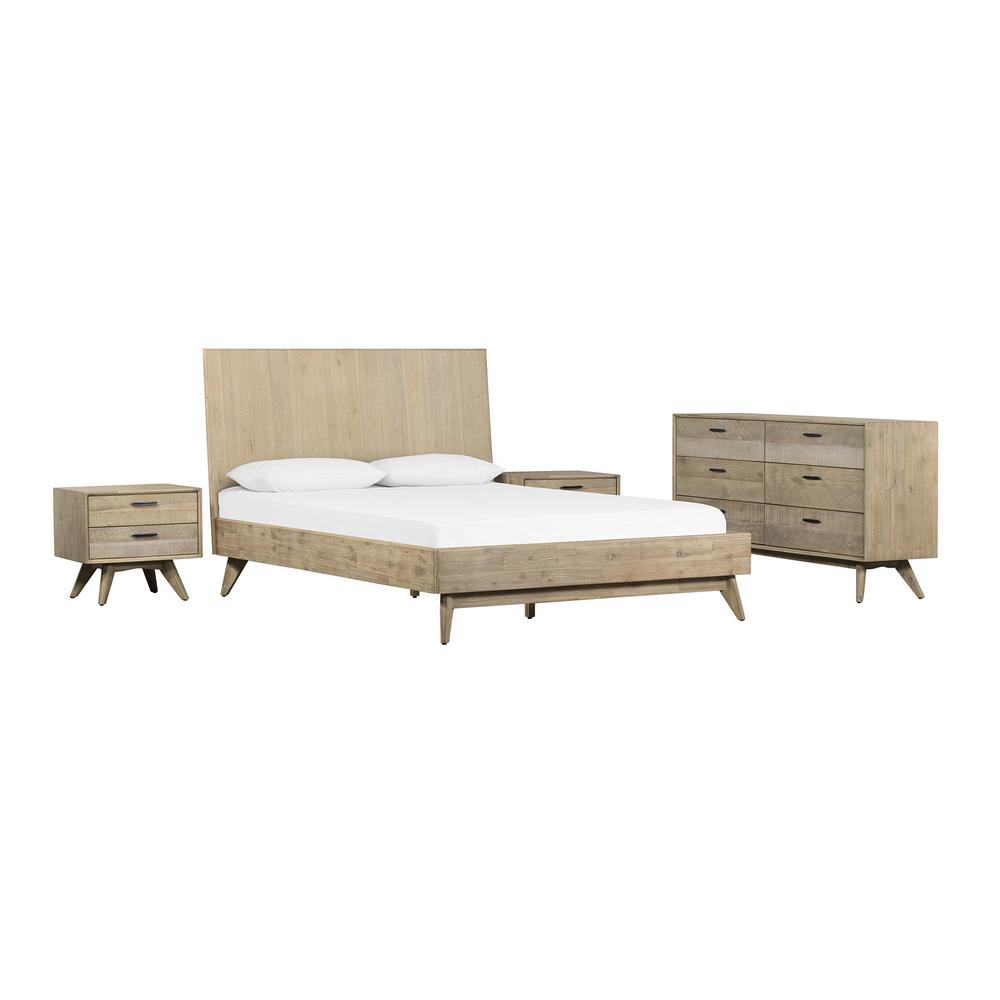 armen living baly 4 piece acacia summer gray king platform bedroom set with dresser and nightstands setlfbdgrkg4a the home depot
