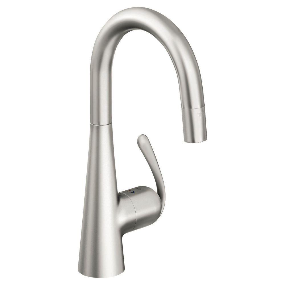 grohe kitchen faucet hose how to get rid of bugs in cupboards ladylux 3 pro single handle pull down sprayer stainless steel