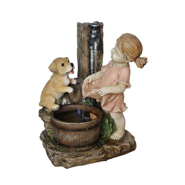 Alpine 20 In. Girl With Dog Spout Bucket Fountain-usa1152
