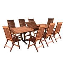Vifah Roch Eucalyptus 9-piece Patio Dining Set With
